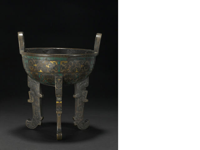 A rare inlaid cast bronze tripod vessel  Song dynasty