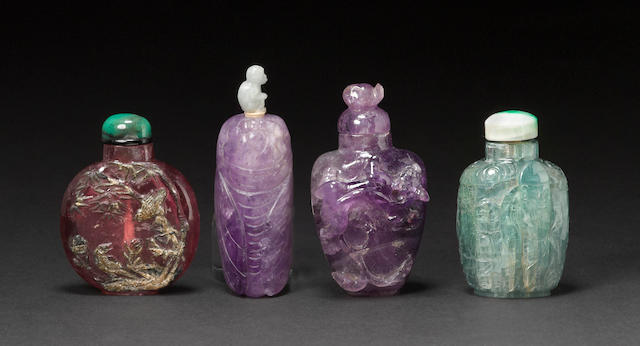 Four beryl snuff bottles 1880-1940