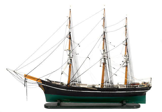 A San Francisco interest painted wood three masted clipper ship model: Cleopatra