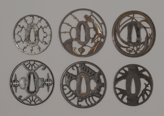 A group of six iron sukashi tsuba Most Edo period