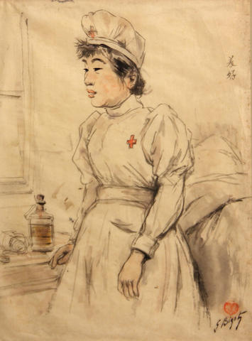 Georges Ferdinand Bigot (French, 1860-1927) A Japanese nurse by a bedside 12 x 9in