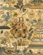A large Charles II stumpwork panel <BR />second half 17th century
