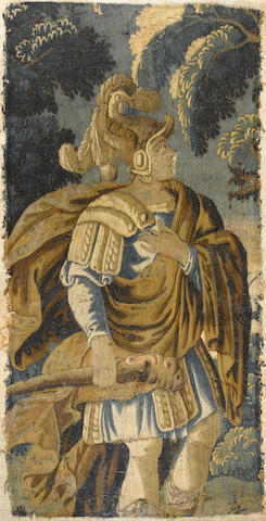 A Flemish Baroque tapestry fragment <BR />late 17th century