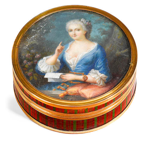 A Louis XVI gilt metal mounted and lacquered and tortoiseshell box <BR />late 18th century