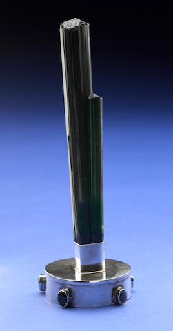 Deep Green Tourmaline Crystal with Silver Stand