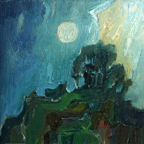 Lundy Siegriest (American, 1925-1985) Tree and moonlight 13 x 13in