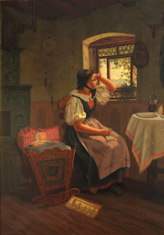 German School, 19th Century A cottage interior with a mother and her child 19 3/4 x 14in