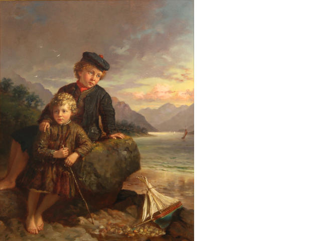 Jonathan Pratt (British 1835-1911), Two children with their toy boat, signed and dated: J. Pratt 1872, o/panel, 12 x 10in