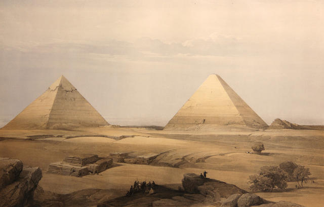 David Roberts (Scottish, 1796-1864); Hypaethral Temple at Philae; Pyramids of Geezeh; (2)