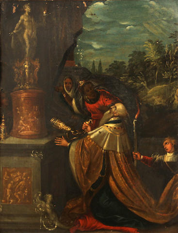 Italian School, 17th Century   SENDING TO BK The Idolatry of Solomon 14 x 11in