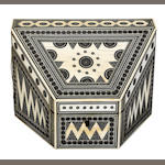 An Anglo Indian ivory, sadeli mosaic and sandalwood stationary box <BR />second half 19th century
