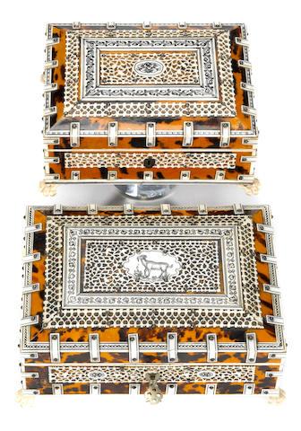 Two Anglo Indian tortoiseshell, ivory and sandalwood table boxes <BR />second half 19th century