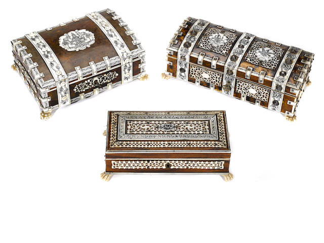 Two Anglo Indian tortoiseshell, ivory and sandalwood table boxes and a rosewood and ivory table box  <BR />second half 19th century