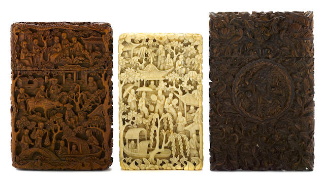 Three Chinese export or Indian ivory or sandalwood card cases  <BR />mid 19th century
