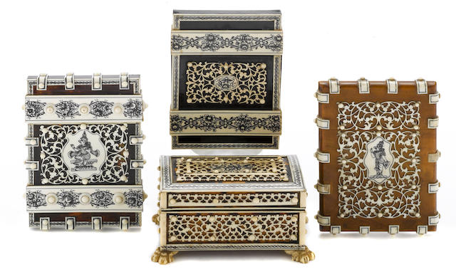 Three Anglo Indian ivory and sandalwood card cases and one box   <BR />second half 19th century