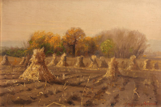 Attributed to Charles Partridge Adams (American, 1858-1942) Haystacks 10 x 15in