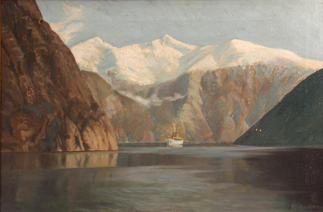 J. M. Michaelsen (died 1959) A steamer among the fjords 16 1/4 x 24 1/4in