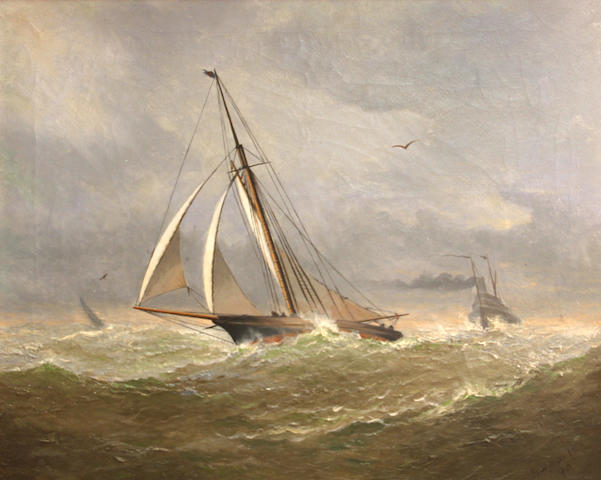 Frederick Schauchardt Samuels (American, 1855-1930) Sailboat in rough seas, 1890 20 1/4 x 24 1/4in