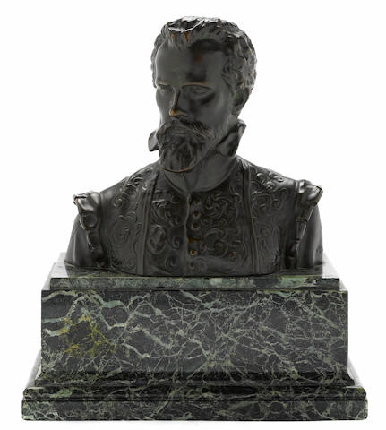 A Belgian patinated bronze bust: André Vésale (1514-1564) <BR />after Isidore de Rudder (Belgian, 1855-1943)<BR />Vve Louis Luppens Editeur<BR />late 19th/early 20th century