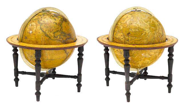 A pair of  English terrestrial and celestial table globes <BR />Charles Smith & Son, London<BR />terrestial globe dated  1857