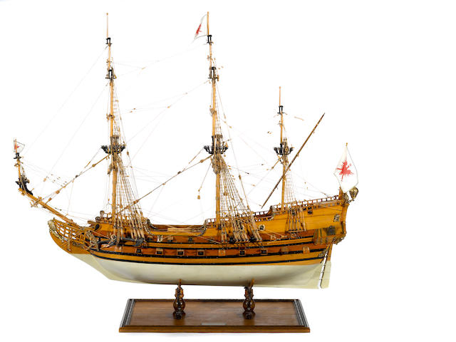 A model of the German frigate: Friederich Wilhelm Zu Pferde
