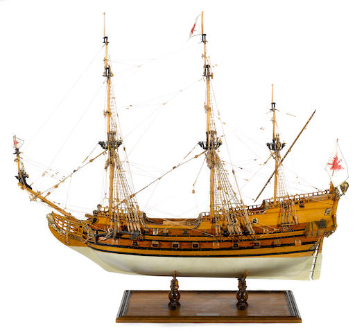 A model of the German frigate: Friederich Wilhelm Zu Pferde
