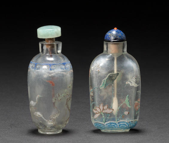 Two enameled glass snuff bottles 1760-1820