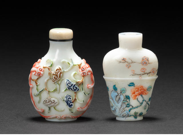 Two molded and enameled glass bottles 1750-1840