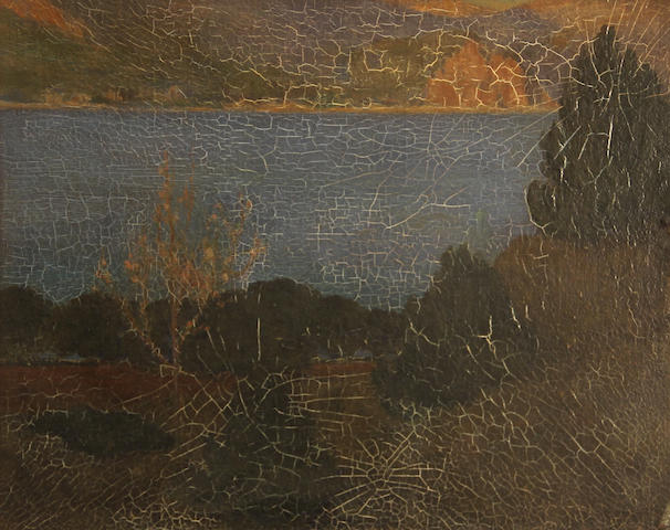 Attributed to Bruce Porter (1865-1953) Trees on a lake 13 1/25 x 16 1/2in