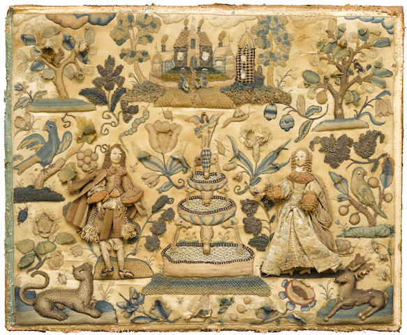 A large Charles II stumpwork panel <BR />second half 17th century