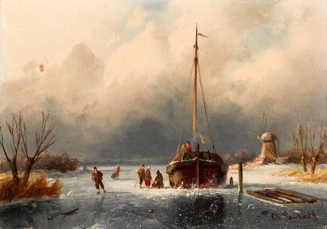 Charles Leickert (Dutch, 1816-1907) A winter scene with figures by a boat on a frozen river 5 x 7in (12.7 x 17.7cm)