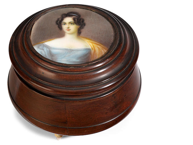 A George IV treen covered box <BR />second quarter 19th century