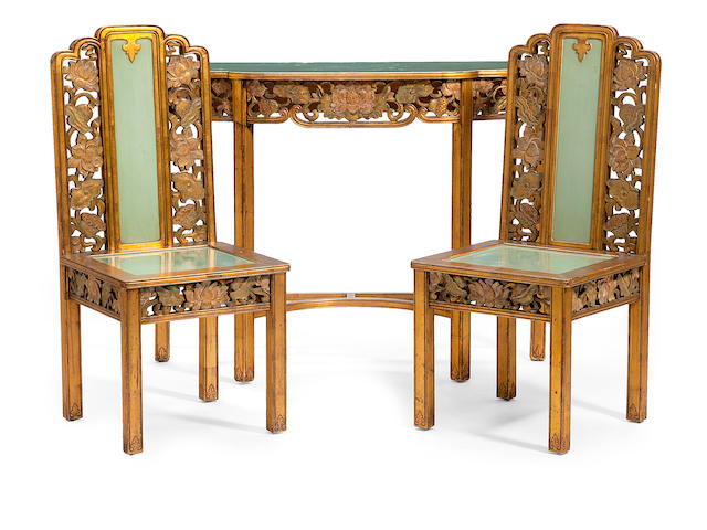 A suite of Chinese gilt and paint decorated furniture