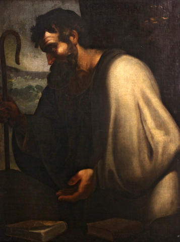 Neapolitan School A bearded saint holding a shepherd's crook 43 x 35 1/2in