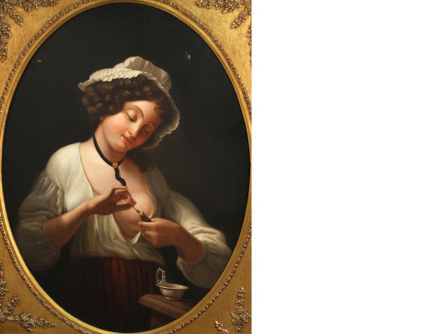 Manner of Henry Robert Morland A girl feeding a hatchling 36 x 29in