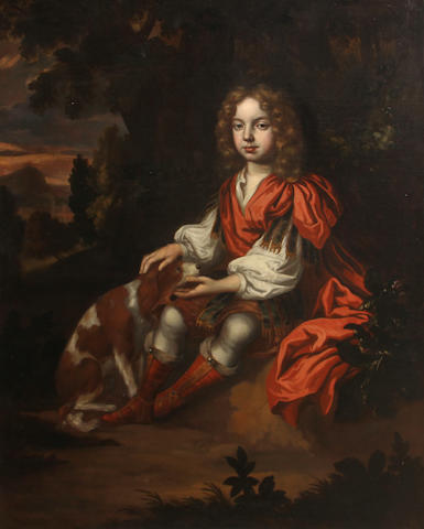 Circle of Charles d' Agar (Paris 1669-1723 London) A portrait of a boy, full-length, seated in a woodland, his dog by his side 50 1/2 x 40 1/2in