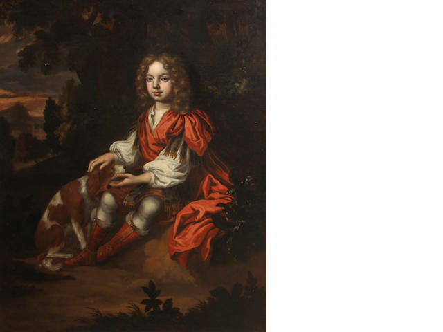 Manner of Sir Peter Lely A portrait of a boy and a dog seated in a woodland 50 x 40in