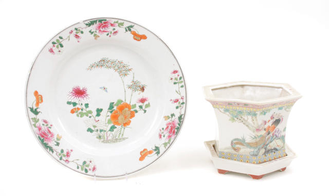 An assembled grouping of Chinese Export famille rose enameled porcelain