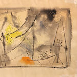 Werner Drewes, watercolor, signed in ink