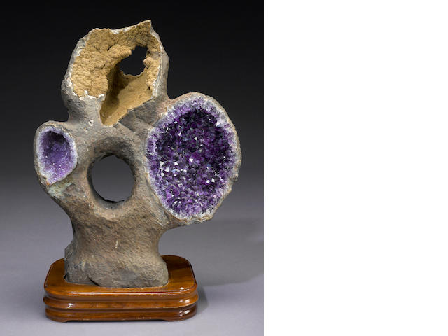 Amethyst Sculpture on Wood Stand