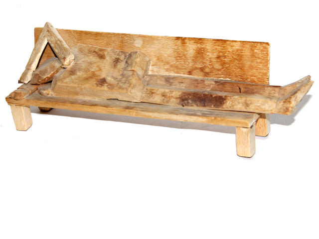 William King, Man on a park bench, Balsa wood, 11 x 4 ½ inches