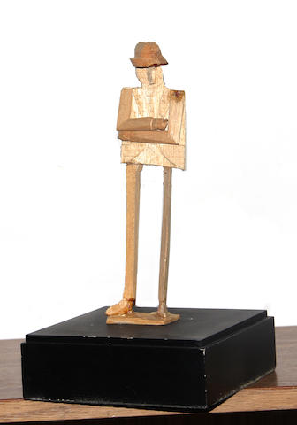 William King (American, born 1925) Standing man figure 9 x 2 1/2 x 1 3/4in  height with base and box 13 1/4in