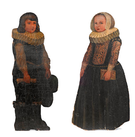 A pair of paint decorated dummy boards <BR />late 19th century