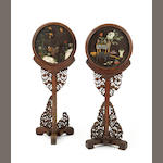 A pair of floor screens with hardstone inlay Late Qing/Republic period
