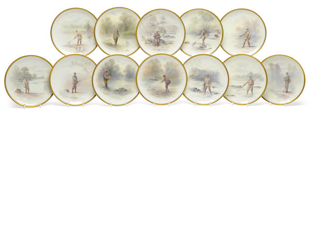 A set of twelve Royal Doulton porcelain cabinet plates of angling interest <BR />painted by S. Wilson and J. Hancock<BR />retailed by Phillips's Ltd., London and Davis Collamore & Co. Ltd., New York<BR />date codes for 1904-13
