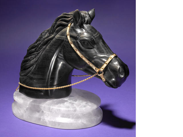 Russian Obsidian Horse Head on Rock Crystal Base
