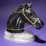 Russian Obsidian Horse Head on Rock Crystal Base