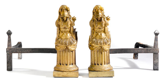 A pair of Louis XVI gilt bronze chenets