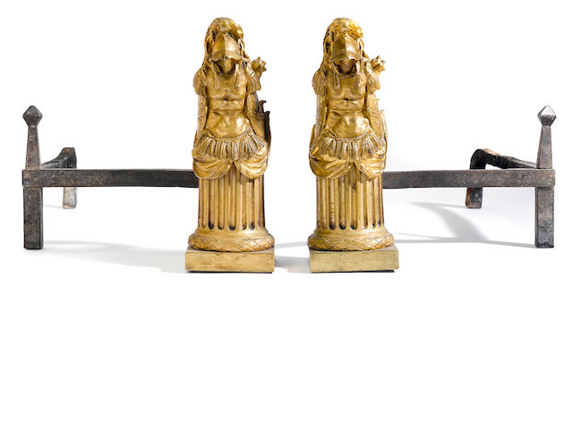 A pair of Louis XVI gilt bronze chenets<BR /> fourth quarter 18th century