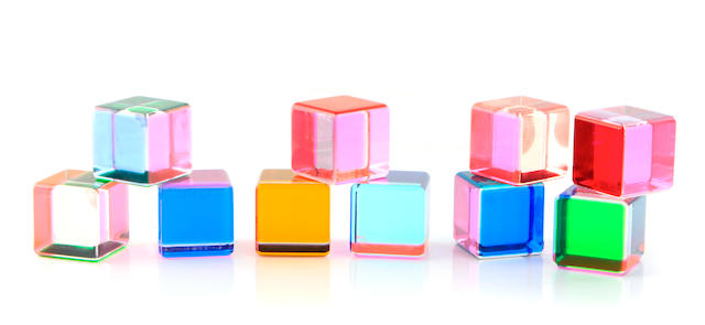 A set of ten Vasa acrylic cubes